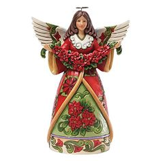 Jim Shore for Enesco Heartwood Creek Poinsettia Angel Figurine 925Inch * Visit the image link more details.