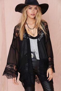 Sheer Caress Lace Kimono - Black