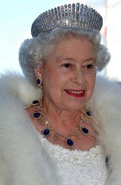Queen Elizabeth II, wearing Queen Alexandra's diamond kokoshnick tiara & amethysts.