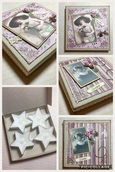 Et par gave-esker med stjernelys i. Eskene er laget på frihånd og de er dekorert med gamle Maja Design papirer. Pyntet med blonder, gam...