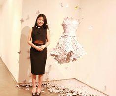 """Fashion. Fashion Sculpture.     China-Artist Han CongCong /""""DREAM CATCHER""""2014.06 Fashion Sculpture. Clothing Sculpture, Paper Egg package ,Paper work Paper Art 随着时装雕塑的发展它的制作材料耶不断的增加。纸蛋托一般情况下都是用完之后就被抛弃,即使说在艺术当中有在被使用,也只是在一些小的工艺品或者手工制作上面,所以我的作品是为了扩展艺术服装的材质利用回收的纸蛋托制作了时装雕塑艺术,"""