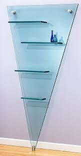 Artful And Creative Desig Glass Wall Shelf With V Shape Some Great Floating Glass Shelves Home decoration Glass Wall Shelves, Floating Glass Shelves, Shelf Design, Dresser, Shapes, Living Room, Creative, Furniture, Home Decor