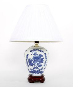 Take a look at this Blue & White Flower Table Lamp by Dennis East International on #zulily today!