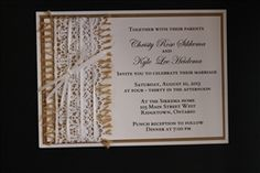 Vintage 3 layer burlap and lace invitation from www.thepaperbride.ca