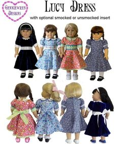 The Genniewren Designs Lucy Dress 18 inch Doll clothes pattern. This traditional style dress with a modern touch can be made in three styles and is the perfect dress for any special occasion.