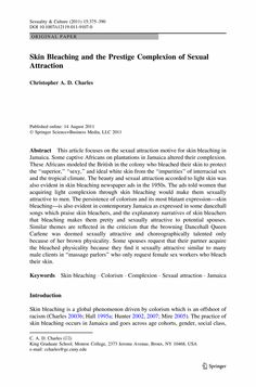Skin Bleaching and the Prestige Complexion of Sexual Attraction - Springer Science Inquiry, Action Research, Language Proficiency, Teacher Education, Language Development, The Prestige, English Language, Divorce, Attraction