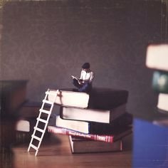 On top of books. | 20 Tiny Worlds Where You'd Love To Live