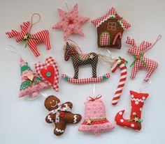 Świąteczne zawieszki, ozdoby na choinkę - arcdeco - Dekoracje: tkanina