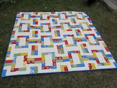 Children and adults alike will be thrilled with the fun primary-color design of this Ravishing Rail Picnic Quilt.