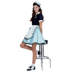"You're party guest will think they've stepped into Mel's Diner when you get in this 1950's waitress costume. This Adult Car Hop 50s Costume includes a black collared top dress with ""Junior's Diner"" printed in turquoise on the front and back, turquoise skirt with black trim detailing, white apron, and matching cap. Complete this classic 1950s era look with 50's Saddle Shoes and a soda pop."
