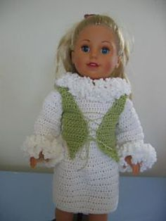 Instructions to make a dress with ruffled cuffs and collars as well as a vest. Both were designed to fit an American Girl Doll.