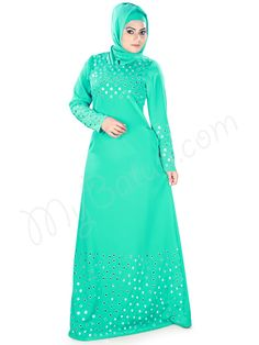 Elegant Turquoise_Green Mirror Work Embroidered Party Wear Saida Abaya | MyBatua.com Style No : AY-382 Price : $35.00 Available Sizes XS to 7XL