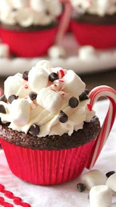 Hot Cocoa Cupcakes ~ topped with fresh whipped cream, mini marshmallows, mini chocolate chips and crushed peppermints and finished off with edible mini candy cane handles... Best cupcake recipe.