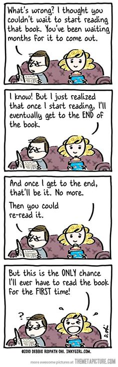 Reading a new book…I totally get this!  this is why i have like 50 books i haven't read yet..