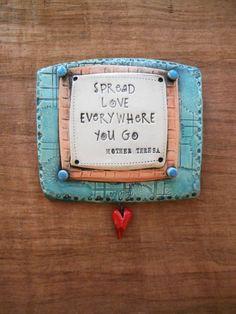 "Green Ceramic Wall Plaque ""Spread Love Everywhere You Go"" Mother Teresa; Ceramic…"