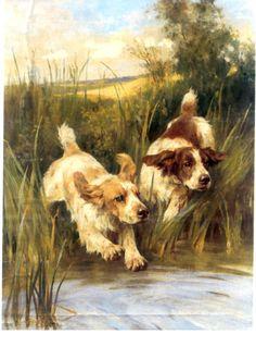 Springer And Cocker Spaniel Dog s Among Rushes Lovely Card s. $17.20, via Etsy.