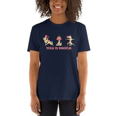 Yoga is Magical Short-Sleeve Unisex T-Shirt, Unicorns doing yoga shirt, Unicorn Yoga t-shirt, Yoga Instructor gift White Face Mask, Just Because Gifts, Beautiful Mask, Fashion Group, How To Do Yoga, Latest Trends, T Shirts For Women, Unisex, Spun Cotton