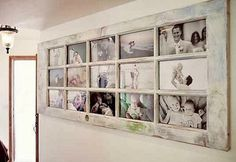 20 ways to use old doors. old door photo collage decor. Use old doors in a new way with these great ideas for turning old doors into something useful and new for your home. Deco Originale, Photo Boards, Old Doors, Home And Deco, Photo Displays, Display Photos, Display Ideas, Home Projects, Diy Projects Old Windows