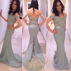New Long Mermaid Prom Dresses 2016 Short Sleeve