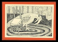 Exploding Bird on Braided Rug - Pen Drawing: chair, surrealism, whimsical, smoke