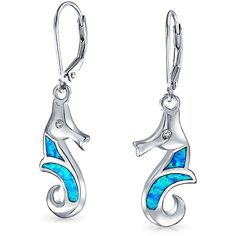 Sterling Nautical Seahorse Blue Opal Inlay CZ Leverback Earrings ($43) ❤ liked on Polyvore featuring jewelry, earrings, blue, dangle-earrings, beach earrings, long earrings, fake jewelry, nautical earrings and blue opal jewelry