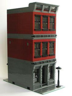 modularsbykristel | Passionate about MOC modular buildings Lego Minifigure Display, Lego Display, Casa Lego, Construction Lego, Lego Design, Modular Design, Lego Creator Sets, Lego Modular, Lego Room