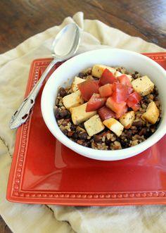 Warm Brown Rice & Black Bean Chicken Salad | Bakerita