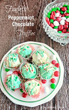 These Funfetti® peppermint chocolate truffles are the perfect bite to finish any holiday meal. They are easy to make and taste just delicious. Bet you can't eat just one! thegardeningcook.com #BakeInTheFun #ad