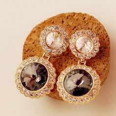 Vintage Style Round CZ Shiny Earrings