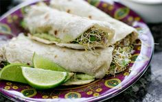 Homemade tortillas with avocado and sprouts