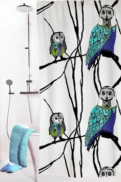 Vallila Interior AW14, Hu-huu shower curtain blue/white by Riina Kuikka
