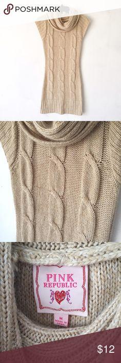 Oatmeal cowl neck sweater dress Brown/beige (oatmeal) colored short sleeved knit sweater dress. Has a cowl neck as seen. Pink Republic Dresses