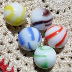 "Candy Cane MARBLES by Marble King  Paden City WV.  5/8"" each.  Newer but nice and different than anything they've ever done before."