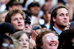 ♔Brothers♔Prince Harry♔Prince William..... A couple of well known faces in a crowd.