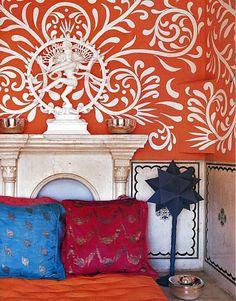 Indian modern mural, Elle Decor