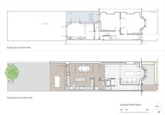 Remodeling done by Neil Dusheiko Architects in Stoke Newington, London Mini Clubman, House Extension Plans, House Extension Design, House Design, Layouts Casa, House Layouts, London Townhouse, London House, House Layout Plans