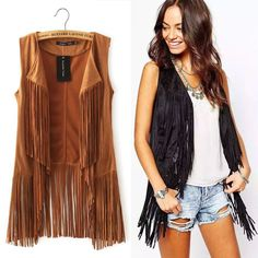 2015 autumn winter suede ethnic sleeveless tassels fringed vest cardigan black khaki Retro Suede Leather Vest Women Waistcoat-in Vests & Waistcoats from Women's Clothing & Accessories on Aliexpress.com | Alibaba Group