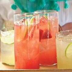 Strawberry Margarita Spritzers Club soda, fresh whole strawberries, and frozen daiquiri mix set these margarita spritzers apart. Serve on sultry summer days and enjoy the fizzy sweetness of these colorful cocktails. FOR TREVIN. Refreshing Summer Cocktails, Cocktail Drinks, Fun Drinks, Yummy Drinks, Cocktail Recipes, Alcoholic Drinks, Colorful Cocktails, Mixed Drinks, Purple Drinks