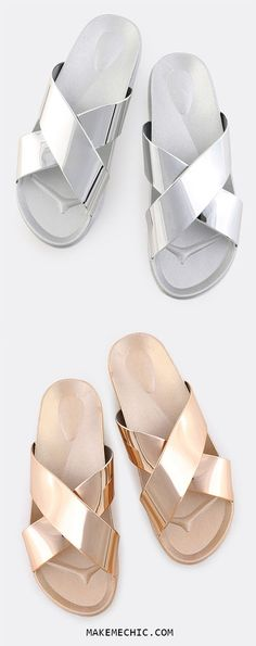 Open Toe Criss Cross Sandals SILVER