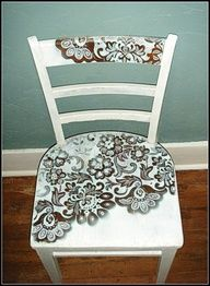 "Spray Paint Through Lace! Started with a brown old chair, placed a lace curtain over the chair seat, spray painted over lace with white flat paint, let dry and then removed. Paint the rest of the chair white and use accent color to edge lace patterns! Beautiful!"" data-componentType=""MODAL_PIN"