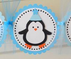 handmade PENGUIN happy birthday party banner by plumcakeparties