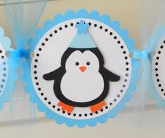 handmade PENGUIN happy birthday party banner by plumcakeparties