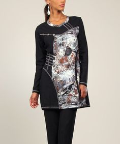 A high-contrast patchwork design enlivens this tunic, crafted from stretch-kissed fabric for relaxed comfort. Size note: This item runs in European sizing. Please refer to the size chart. Shipping note: This item is shipping from France. Allow extra time for its journey to you.