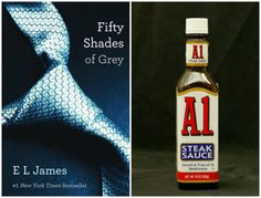 """Fifty Shades of Grey,"" left, and a bottle of A.1. steak sauce. (Yahoo! News/AP) Seriously this guy needs help"