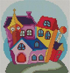 quilting like crazy Cross Stitch House, Cross Stitch Pillow, Mini Cross Stitch, Modern Cross Stitch, Cross Stitch Designs, Cross Stitch Patterns, Knitting Patterns, Cross Stitching, Cross Stitch Embroidery