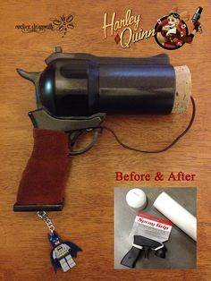 "Always love a ""Before and After"" Picture !!! Ant Lucia's Harley Quinn Bombshell Cork Gun !!!For my new Cosplay at Florida's Mega Con 2014 (I know, Harley again. She is just AWESOME)The only differe..."