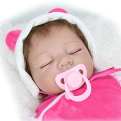 """Amazon.com: 22"""" Sleeping Soft Vinyl Reborn Baby Dolls Real Vinyl Belly Realistic Collection Toys Magnetic Dummy: Toys & Games"""