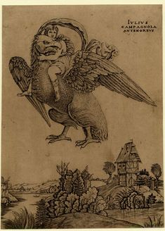 Print made by Giulio Campagnola 1500-1516 The rape of Ganymede who is being carried off by Jupiter in the form of an eagle, with a landscape below. c.1500/3 Engraving...