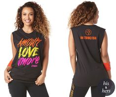 """WHY YOU'LL LOVE IT • Unisex Combined Sizing • Front Graphic That Says """"Amour Love Amore"""" • Relaxed Fit Measure your chest width... Zumba Strong, Zumba Clothes, Zumba Outfit, Zumba Fitness, Muscle Tanks, My Girl, Unisex, Workout, Shopping"""