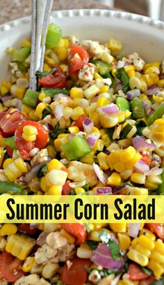 Easy Summer Corn Salad This fresh corn salad is bursting with delicious flavor and is the perfect, easy side dish for summer grilling!This fresh corn salad is bursting with delicious flavor and is the perfect, easy side dish for summer grilling! Corn Salad Recipes, Corn Salads, Healthy Salad Recipes, Vegetarian Recipes, Fresh Corn Recipes, Corn Salad Recipe Easy, Summer Salad Recipes, Chopped Salad Recipes, Fruit Salads